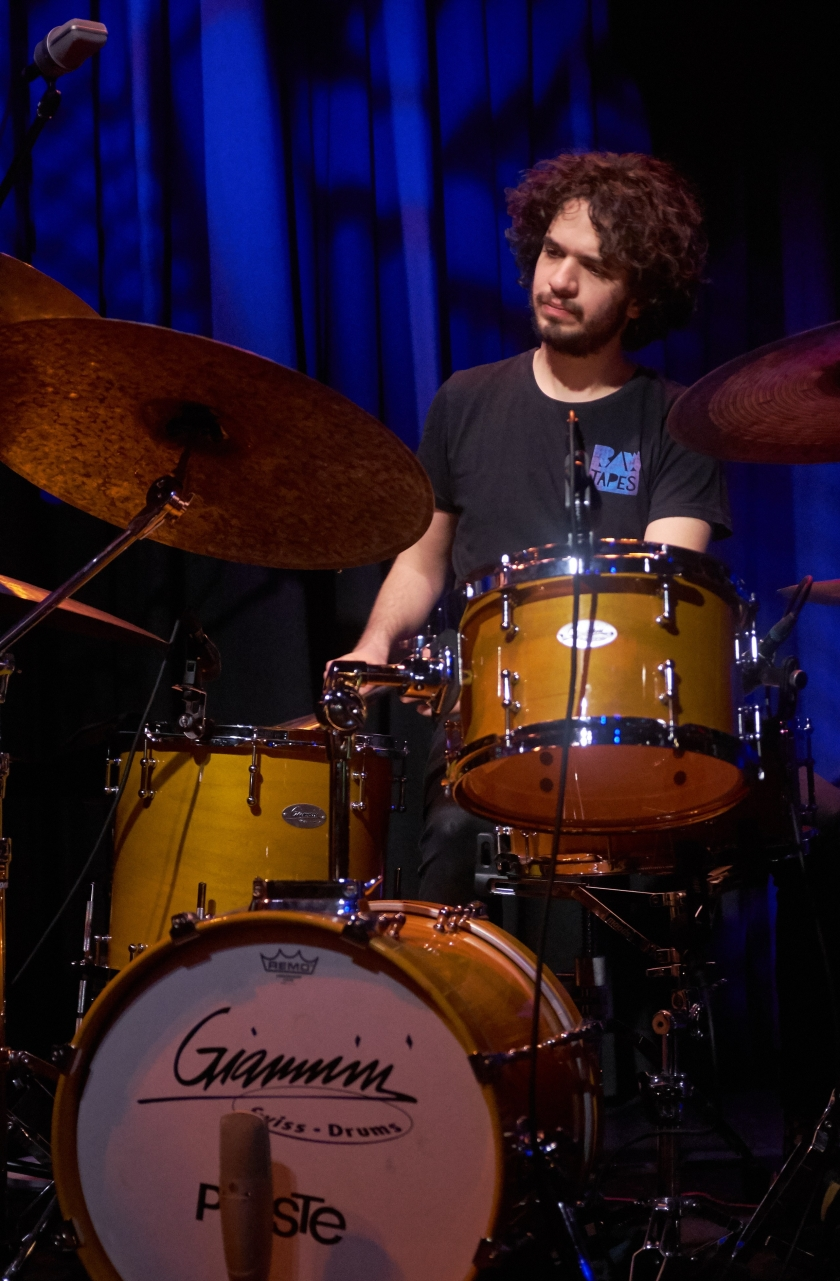 Amir Bresler with the Omer Klein Trio Live at Moods January 18, 2018 (c) Musicophile
